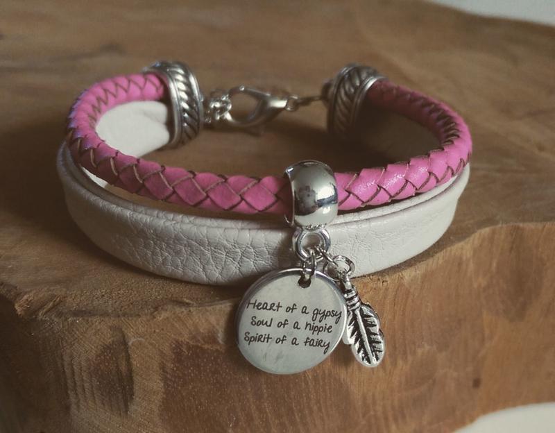 "Leren Armband ""Heart Of A Gypsy"""