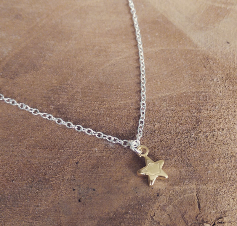 """Subtiele Ketting """"Gold Plated Star"""" Silver Plated"""