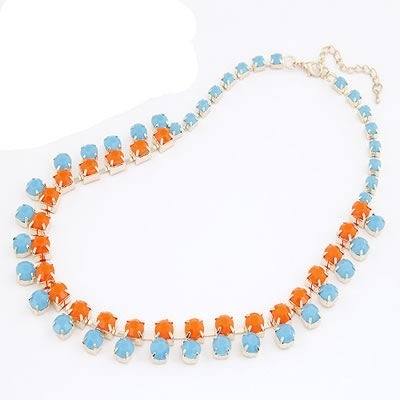 "Statement Ketting ""Blue & Orange Stones"""