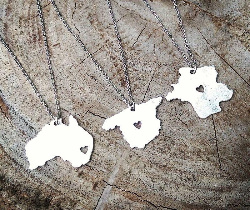 "Landkaart Ketting ""Silhouette Map"" Australië, Spanje of Frankrijk"
