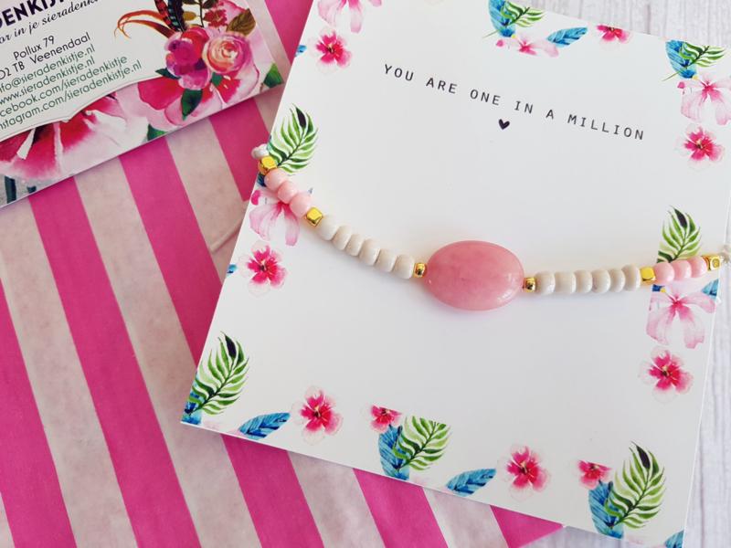 """Halfedelsteen Armband op Kaartje """"The Stones"""" Keuze uit 2 kleuren"""