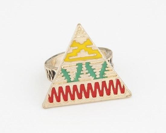 "Ring ""Coloured Aztec Pyramid"""