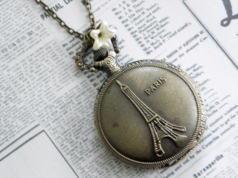 """Zakhorloge Ketting """"Paris""""  Large Brons"""