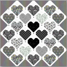 Retro Hearts Quilt Kit - Linework - Tula Pink