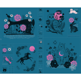 Panel - Ruby Star - Crescent - Moonlit Forest - Teal