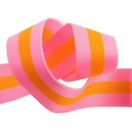 Bright Soft Pink and Tangerine Orange - Tula Pink Webbing