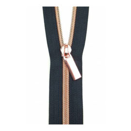 Navy tape-rose gold - zipper - Sallie Tomato