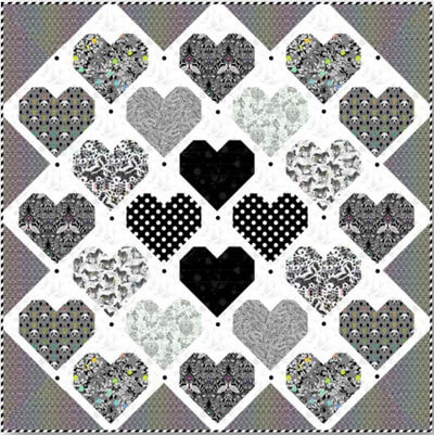 Retro Hearts Quilt Kit - Linework - Tula Pink