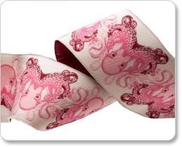 Tula Pink,  Pink & Brown Octopus Ribbon, TK-04, 38 mm col 1
