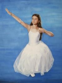 Schilderij van foto kleindochter, formaat 60 x 80 cm Verkocht!