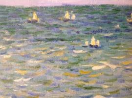 Monet reproductie, Wandeling op rotstoppen bij Pourville formaat 75 x 90 cm Verkocht!