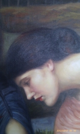 Waterhouse reproductie, Gather ye rosebuds while ye may uit 1909 75 x 90 cm Verkocht!