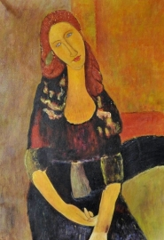 Modigliani reproductie, Portret van Jeanne Hebuterne (2) formaat 60 x 90 cm Verkocht!