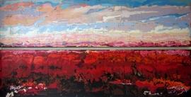 Dekker, Landschap in rood/roze/blauw 3042