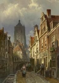 Koekkoek, Hollands stadsgezicht met de toren van de Brielse St. Catharinakerk