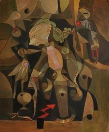 Klee reproductie, Avontuur jonge vrouw formaat 40 x 50 cm Verkocht!