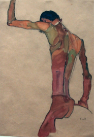 Standing Male Nude with Arm Raised Back view