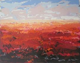 Dekker, Landschap in rood/roze/lila 3043