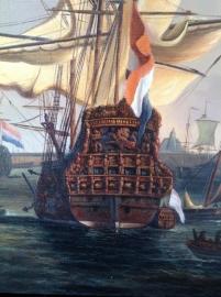 van de Velde reproductie, De Gouden Leeuw voor Amsterdam detail formaat 50 x 60 cm Verkocht!