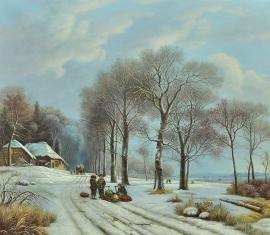 Koekkoek reproductie, Winterlandschap formaat 90 x 75 cm Verkocht!