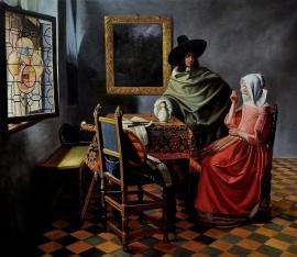 Vermeer reproductie, Drinkende dame en heer formaat 110 x 95 cm Verkocht!