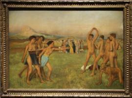 Jonge Spartanen doen oefeningen