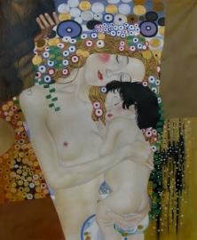 Klimt reproductie, Moeder en Kind 75 x 90 cm Verkocht!