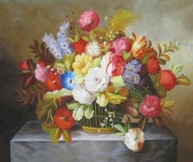 Klassiek bloemen, formaat 90 x 120 cm Verkocht!