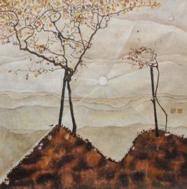Schiele reproductie, Herbstsonne und Baume formaat 100 x 100 cm Verkocht!