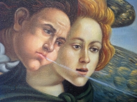 Botticelli reproductie, Geboorte van Venus formaat 150 x 95 cm Verkocht!