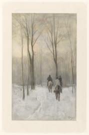 Ruiters in de sneeuw in het Haagse bos
