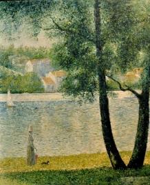 Seurat reproductie, La Seine a Courbevoie 75 x 90 cm Verkocht!