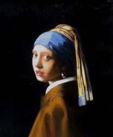 Vermeer reproductie, Meisje met de parel 45 x 40 cm Verkocht!