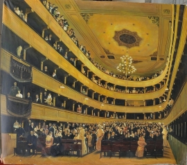 Klimt reproductie, Oude Burgtheater 120 x 135 cm Verkocht!
