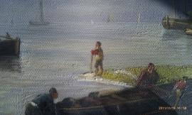 Koekkoek JH reproductie, Voor anker liggende Schepen met vissers 60 x 40 cm Verkocht!