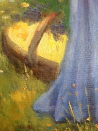 Waterhouse reproductie, Bloemenplukster formaat 60 x 90 cm Verkocht!