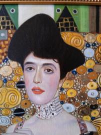 Klimt reproductie, Portret van Adele Bloch-Bauer formaat 100 x 100 cm Verkocht!