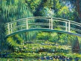 Monet reproductie, Japanse brug en waterlelies formaat 90 x 100 cm Verkocht!
