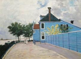 Monet reproductie, Blauwe huis in Zaandam formaat 40 x 60 cm Verkocht!