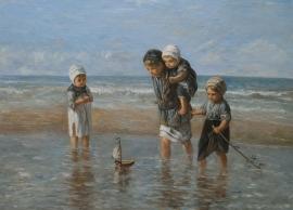 Israels reproductie,  Kinderen der Zee formaat 75 x 100 cm Verkocht!