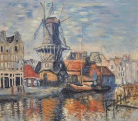 Monet reproductie, Molen aan de Onbekende Gracht formaat 56 x 65 cm Verkocht!