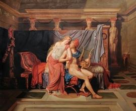David reproductie, Paris & Helen formaat 120 x 100 cm Verkocht!