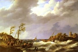 Koekkoek, Vissersboten op lager wal met dorpelingen en reddingsboot op voorgrond