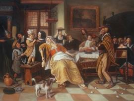 Jan Steen reproductie, Bonenfeest formaat 60 x 90 cm Verkocht!