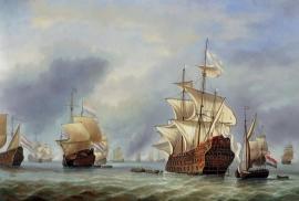 van de Velde reproductie, Verovering van Royal Prince formaat 60 x 90 cm Verkocht!