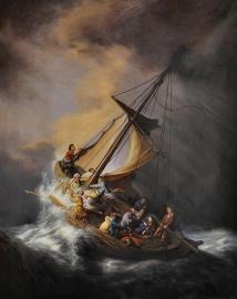 Rembrandt reproductie, Storm op het meer van Galilea formaat 70 x 90 cm Verkocht!