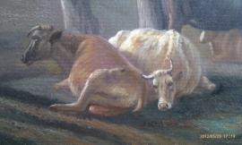 Potter reproductie, Koeien in weide bij boerderij 58 x 67 cm Verkocht!