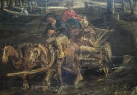 Paard en wagen (detail van een schilderij)