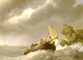 Koekkoek, Zeilen op stormende zee