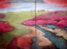 Dekker, Landschap in roze/lila/blauw